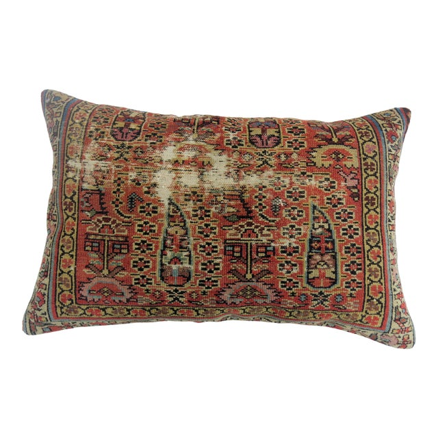 Distressed Persian Rug Pillow - Image 1 of 5