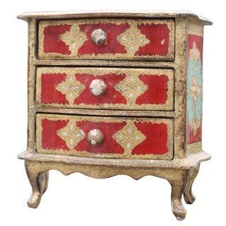 Vintage Red & Turquoise Florentine Jewelry Box