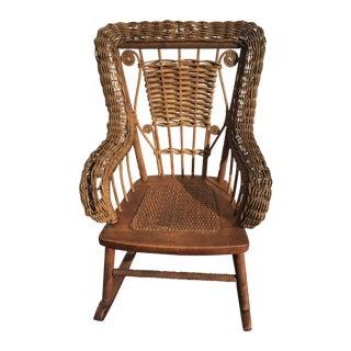 Antique Children's Wicker & Spindle Rocking Chair