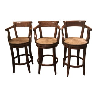 English Country Swivel Rush Seat Bar Stools - Set of 3 With Custom Plasticized Fabric Cushions (Cushions Never Used)