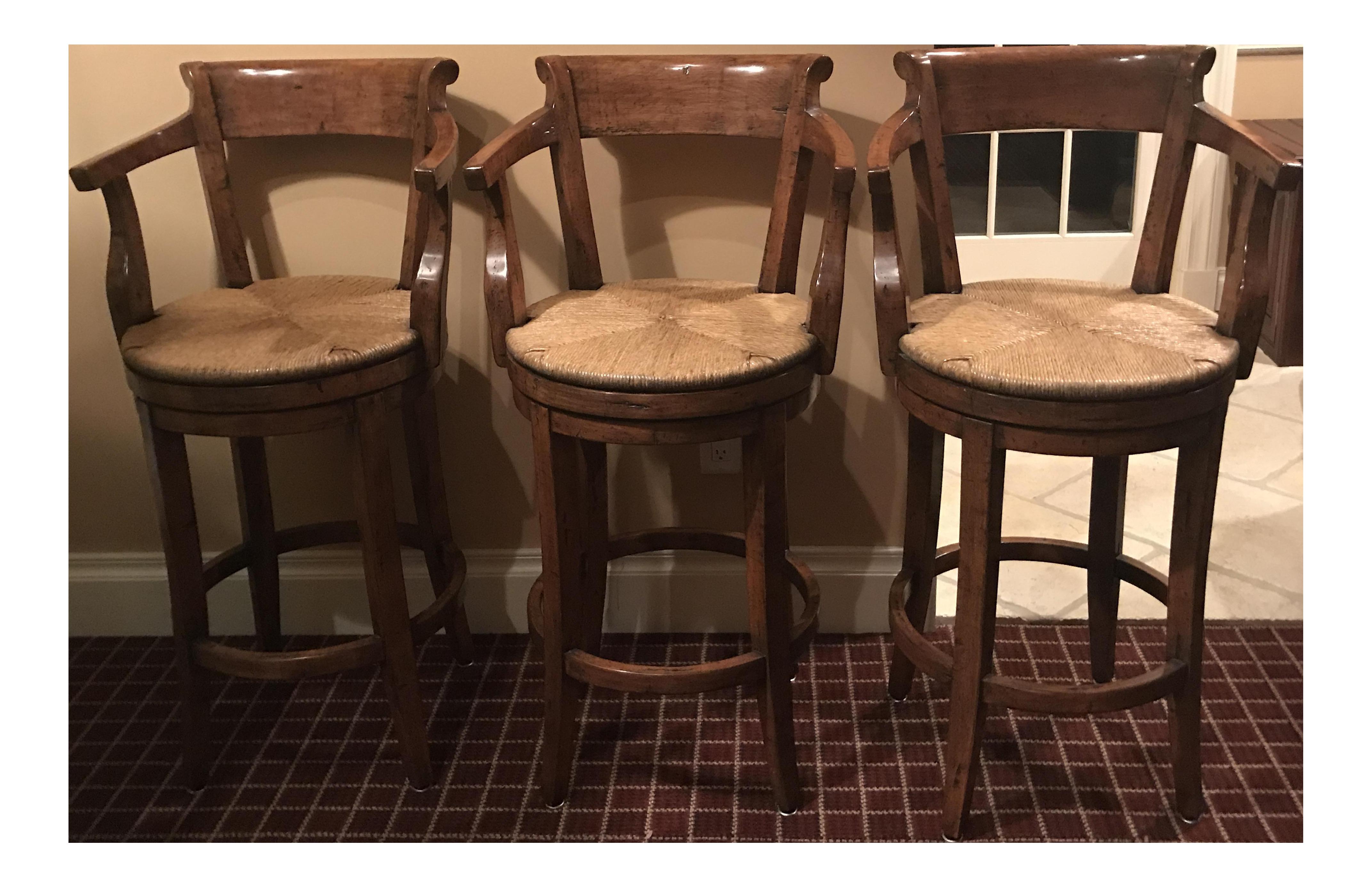 english country swivel rush seat bar stools set of 3 with custom plasticized fabric cushions
