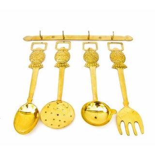 Brass Pineapple Utensil Set- Set of 5