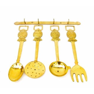 Brass Pineapple Utensil Set- Set of 5
