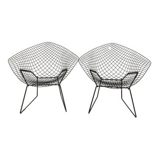 Black Bertoia Side Chairs - A Pair