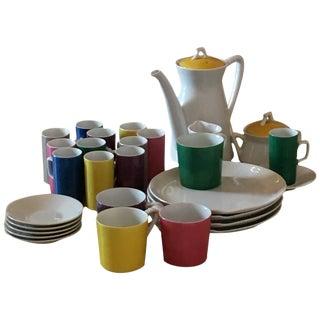 Vintage Modern Metasco Japanese Color Block Porcelain Dessert Service