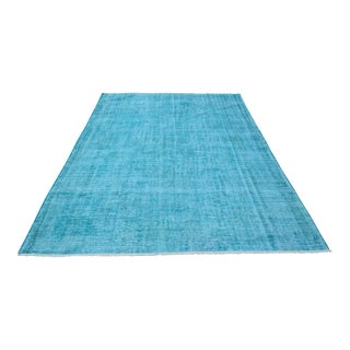 "Vintage Turkish Turquoise Hand Woven Carpet - 9'3"" x 5'6"""