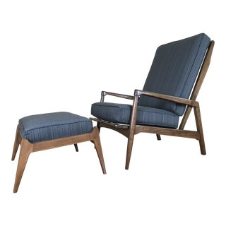 Mid-Century Modern High Back Lounge Chair & Ottoman