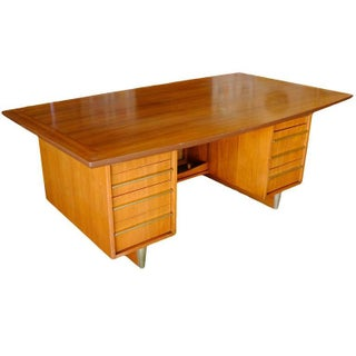 Mid-Century Mahogany Executive Desk With Brass Pulls