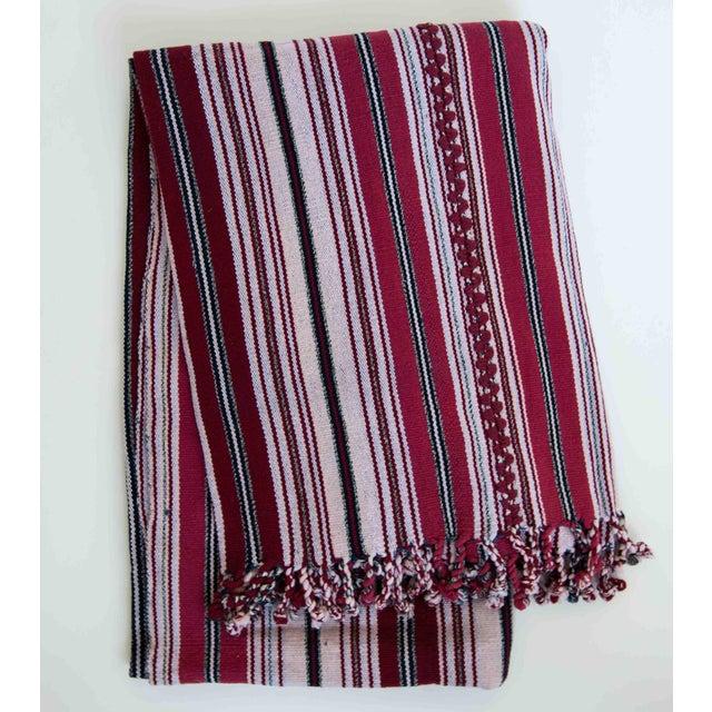 Red & White Handwoven Guatemalan Blanket - Image 2 of 3