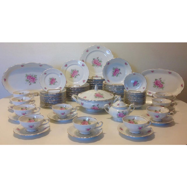 Image of Bavarian Pink Rose China Set - Set of 84