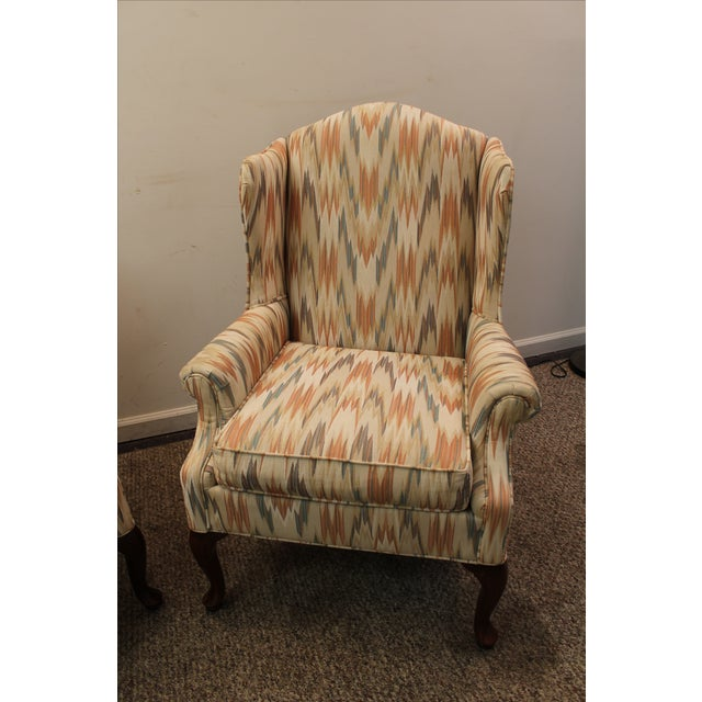Queen Anne Fireside Wing Chairs by Rowe - Pair - Image 4 of 11