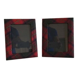 Ralph Lauren Dark Red Classic Tartan 5 x 7 Picture Frames - A Pair