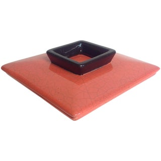 Vintage Coral Red Asian Ceramic Vanity Box