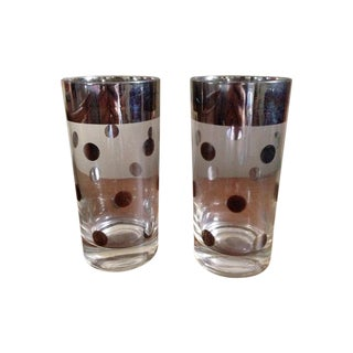 Dorothy Thorpe Silver Rim Polka Dot Glass - A Pair
