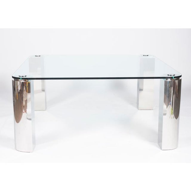 POLISHED STEEL AND GLASS DINING TABLE - Image 2 of 6