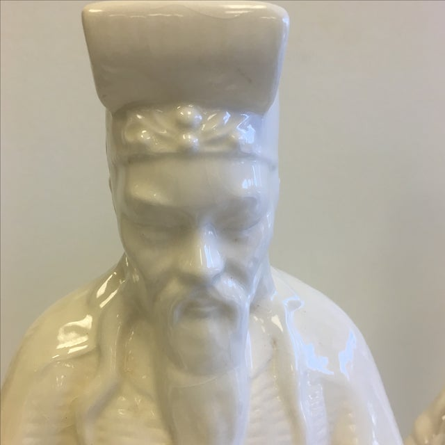 White Chinoiserie Statues - Pair - Image 7 of 11
