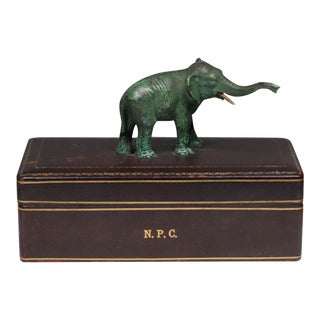 Vintage Leather Box with Hand-Painted Elephant Handle
