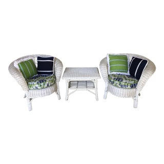 Vintage Heywood Wakefield Wicker Bow Back Arm Chairs & Table - Set of 3