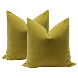 "22"" Mohair Velvet Pillows in Chartreuse - A Pair"