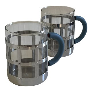 Alessi Mugs Polished Stainless Steel and Glass - A Pair