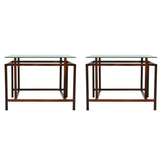 Komfort Rosewood Architectural Frame Side Tables - a Pair