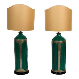 Pair of Large and Impressive Pottery Lamps with Hand Hammered Accents