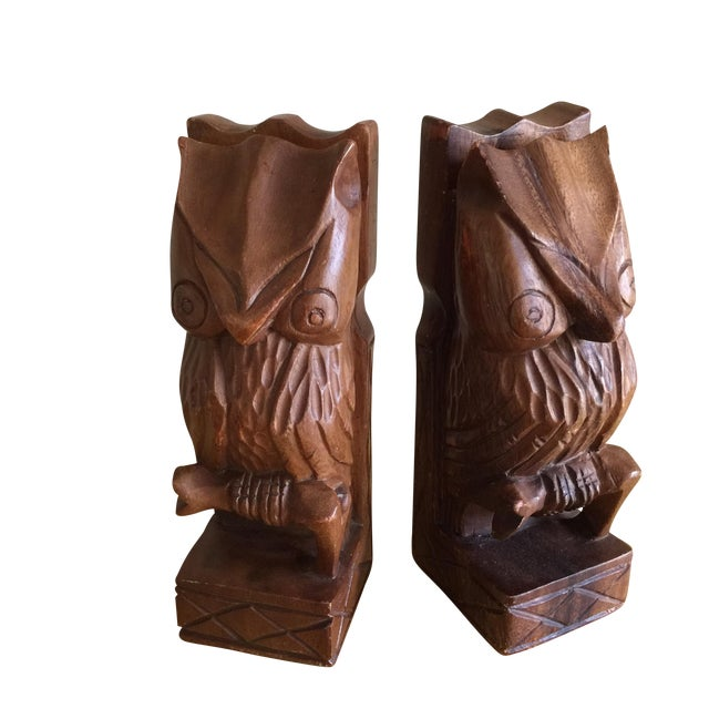 Vintage Rustic Carved Owl Bookends - A Pair - Image 1 of 10