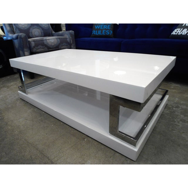 White Lacquer Mirror Coffee Table Chairish