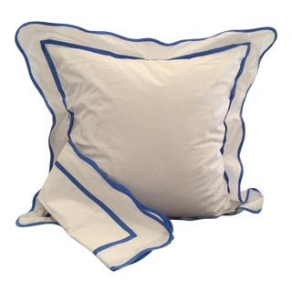 Pair White & French Blue Euro Shams