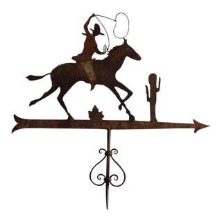 19th Century Original Painted Cowboy on Horse Weather Vane