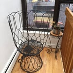 Image of Ornate Tall-Backed Black Wired Garden Throne Chair