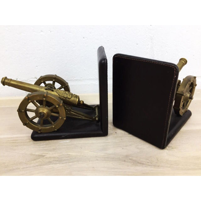 Antique Artillery French Leather & Bronze Bookends - A Pair - Image 6 of 11