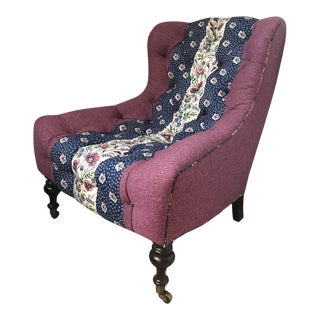 Lee Industries Tufted Upholstered Chair in Custom Tilton Fenwick Fabrics