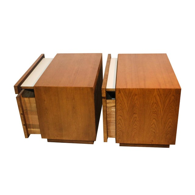 Milo Baughman For Lane Olive Burlwood Nightstands - A Pair - Image 8 of 10