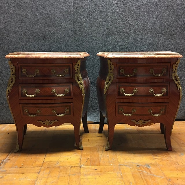 Image of French Louis XV Style Marble Top Chests - Pair