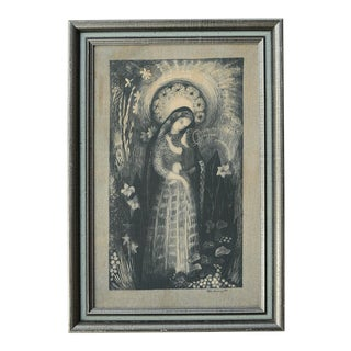 Mid-Century Ilse Roempke Textile Madonna & Child Wall Hanging