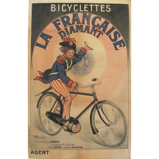 "1900s Vintage French ""Bicyclettes La Francaise Diamant"" Poster"