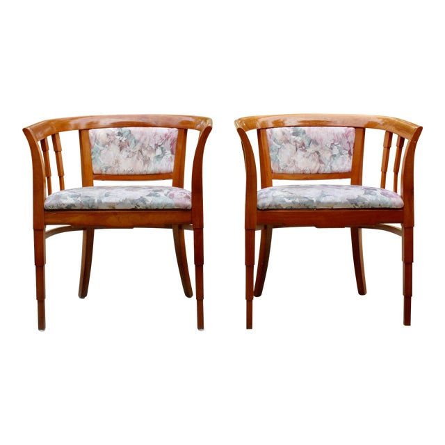 Mid Century Modern Italian Barrel Club Chairs - A Pair - Image 1 of 5