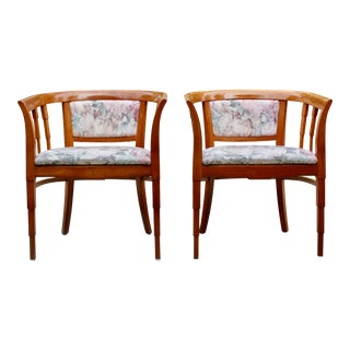 Mid Century Modern Italian Barrel Club Chairs - A Pair