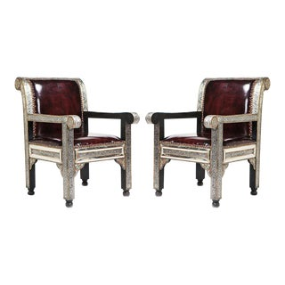Moroccan Silver Metal Arm Chairs - A Pair