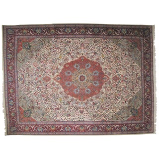 "Persian Beige & Red Tabriz Wool Rug - 10' x 13'6"""