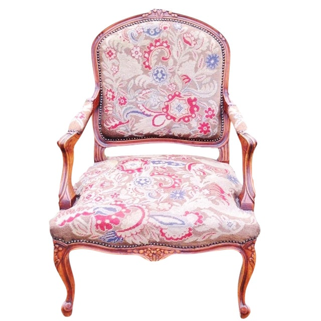 Petit Point Needlepoint Tapestry Chair - Image 1 of 2