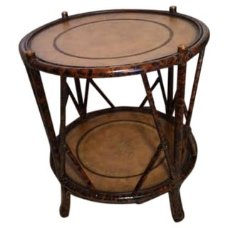 Maitland Smith Rattan & Leather Side Table