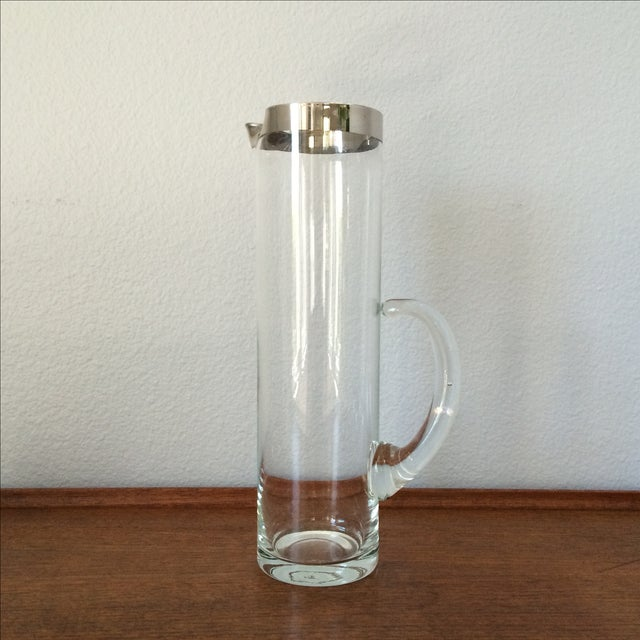 Image of Mid-Century Silver Cocktail Pitcher & Five Glasses