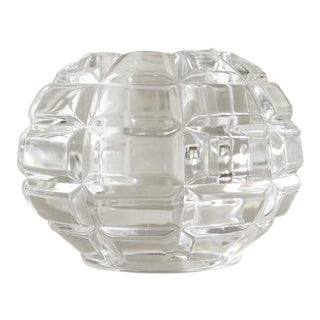 Orrefors Sweden Round Crystal Candle Holder