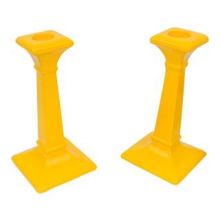 Mid-Century Yellow Candlesticks - A Pair