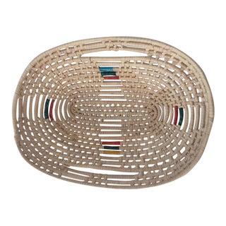Vintage Rattan Oval Basket With Handles