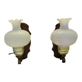 """Hobnail """"Leave It To Beaver"""" Style Milk Shade Sconces, a Pair"""