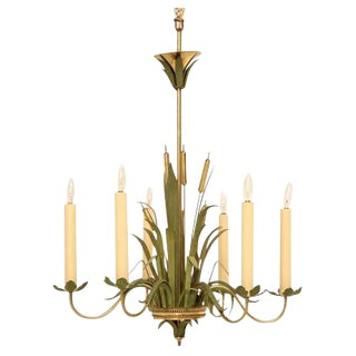 Vintage Continental 6-Light Metal Cattail Chandelier
