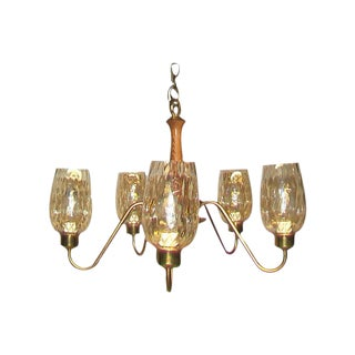 Mid-Century Walnut & Brass Chandelier